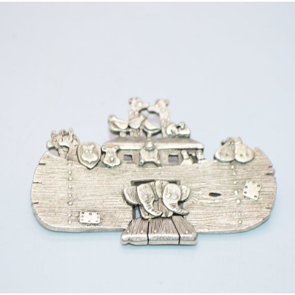 Danecraft Jewelry - Noah's Ark Pewter Animals Brooch Pin Signed by DAN